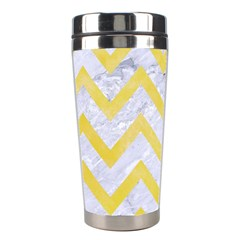 Chevron9 White Marble & Yellow Watercolor (r) Stainless Steel Travel Tumblers by trendistuff