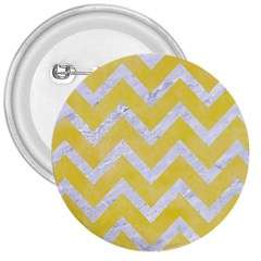 Chevron9 White Marble & Yellow Watercolor 3  Buttons