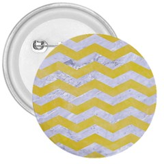 Chevron3 White Marble & Yellow Watercolor 3  Buttons by trendistuff