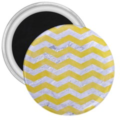 Chevron3 White Marble & Yellow Watercolor 3  Magnets by trendistuff