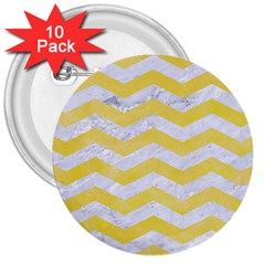 Chevron3 White Marble & Yellow Watercolor 3  Buttons (10 Pack)  by trendistuff