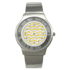 Chevron3 White Marble & Yellow Watercolor Stainless Steel Watch by trendistuff