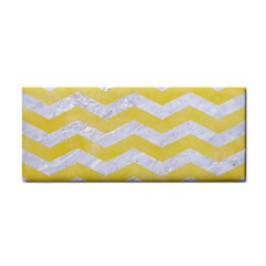 Chevron3 White Marble & Yellow Watercolor Cosmetic Storage Cases by trendistuff