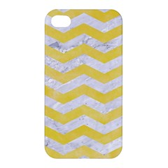 Chevron3 White Marble & Yellow Watercolor Apple Iphone 4/4s Hardshell Case by trendistuff