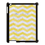 CHEVRON3 WHITE MARBLE & YELLOW WATERCOLOR Apple iPad 3/4 Case (Black) Front