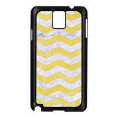 Chevron3 White Marble & Yellow Watercolor Samsung Galaxy Note 3 N9005 Case (black) by trendistuff