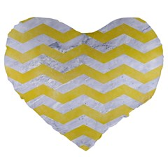 Chevron3 White Marble & Yellow Watercolor Large 19  Premium Flano Heart Shape Cushions