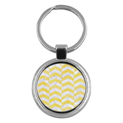 Chevron2 White Marble & Yellow Watercolor Key Chains (round)  by trendistuff