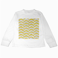 Chevron2 White Marble & Yellow Watercolor Kids Long Sleeve T Shirts
