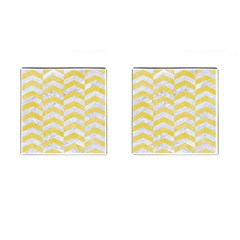 Chevron2 White Marble & Yellow Watercolor Cufflinks (square) by trendistuff