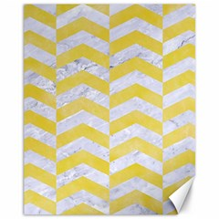 Chevron2 White Marble & Yellow Watercolor Canvas 11  X 14   by trendistuff