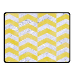 Chevron2 White Marble & Yellow Watercolor Fleece Blanket (small) by trendistuff