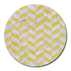 Chevron1 White Marble & Yellow Watercolor Round Mousepads by trendistuff