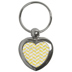 Chevron1 White Marble & Yellow Watercolor Key Chains (heart)  by trendistuff