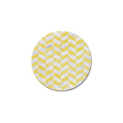 Chevron1 White Marble & Yellow Watercolor Golf Ball Marker (10 Pack) by trendistuff