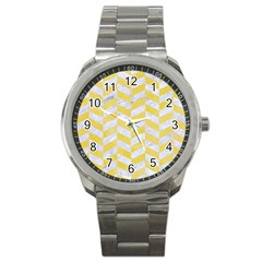 Chevron1 White Marble & Yellow Watercolor Sport Metal Watch by trendistuff