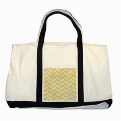 Chevron1 White Marble & Yellow Watercolor Two Tone Tote Bag by trendistuff