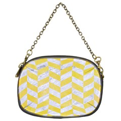 Chevron1 White Marble & Yellow Watercolor Chain Purses (two Sides)  by trendistuff