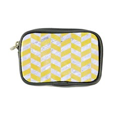 Chevron1 White Marble & Yellow Watercolor Coin Purse by trendistuff