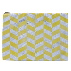 Chevron1 White Marble & Yellow Watercolor Cosmetic Bag (xxl)  by trendistuff