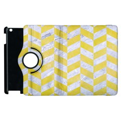 Chevron1 White Marble & Yellow Watercolor Apple Ipad 2 Flip 360 Case by trendistuff