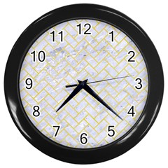 Brick2 White Marble & Yellow Watercolor (r) Wall Clocks (black) by trendistuff