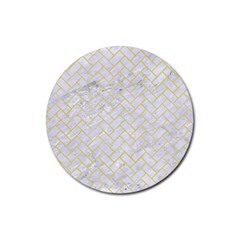 Brick2 White Marble & Yellow Watercolor (r) Rubber Round Coaster (4 Pack)  by trendistuff