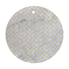 Brick2 White Marble & Yellow Watercolor (r) Round Ornament (two Sides) by trendistuff