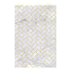 Brick2 White Marble & Yellow Watercolor (r) Shower Curtain 48  X 72  (small)