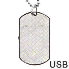 Brick2 White Marble & Yellow Watercolor (r) Dog Tag Usb Flash (one Side) by trendistuff