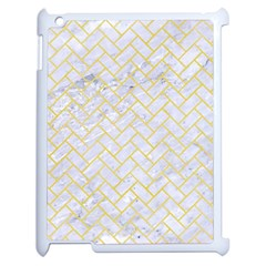 Brick2 White Marble & Yellow Watercolor (r) Apple Ipad 2 Case (white) by trendistuff