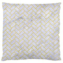 Brick2 White Marble & Yellow Watercolor (r) Large Flano Cushion Case (one Side) by trendistuff