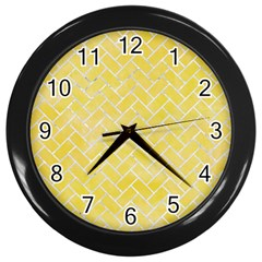 Brick2 White Marble & Yellow Watercolor Wall Clocks (black) by trendistuff