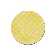 Brick2 White Marble & Yellow Watercolor Magnet 3  (round) by trendistuff
