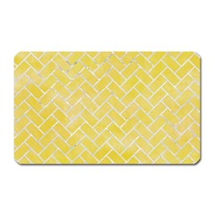 Brick2 White Marble & Yellow Watercolor Magnet (rectangular) by trendistuff