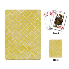 Brick2 White Marble & Yellow Watercolor Playing Card by trendistuff