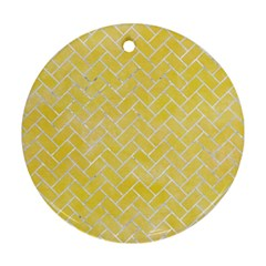 Brick2 White Marble & Yellow Watercolor Round Ornament (two Sides)