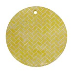 BRICK2 WHITE MARBLE & YELLOW WATERCOLOR Round Ornament (Two Sides) Back