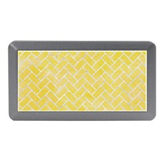 Brick2 White Marble & Yellow Watercolor Memory Card Reader (mini) by trendistuff