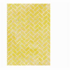 Brick2 White Marble & Yellow Watercolor Large Garden Flag (two Sides) by trendistuff