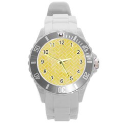 Brick2 White Marble & Yellow Watercolor Round Plastic Sport Watch (l) by trendistuff