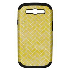 Brick2 White Marble & Yellow Watercolor Samsung Galaxy S Iii Hardshell Case (pc+silicone) by trendistuff
