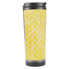 Brick2 White Marble & Yellow Watercolor Travel Tumbler by trendistuff