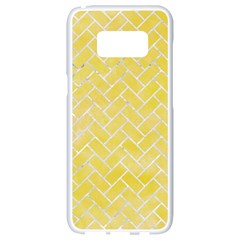 Brick2 White Marble & Yellow Watercolor Samsung Galaxy S8 White Seamless Case by trendistuff