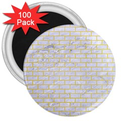 Brick1 White Marble & Yellow Watercolor (r) 3  Magnets (100 Pack) by trendistuff