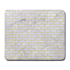 Brick1 White Marble & Yellow Watercolor (r) Large Mousepads by trendistuff