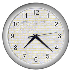 Brick1 White Marble & Yellow Watercolor (r) Wall Clocks (silver)  by trendistuff
