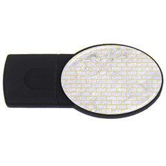 Brick1 White Marble & Yellow Watercolor (r) Usb Flash Drive Oval (4 Gb) by trendistuff