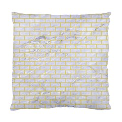 Brick1 White Marble & Yellow Watercolor (r) Standard Cushion Case (two Sides) by trendistuff