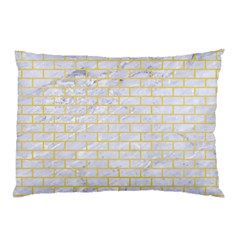 Brick1 White Marble & Yellow Watercolor (r) Pillow Case